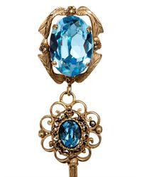 Dolce & Gabbana | Blue Crystal-Embellished Key Earrings | Lyst