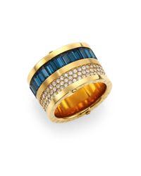 Michael Kors - Blue Brilliance Statement Montana Baguette & PavÉ Barrel Ring - Lyst