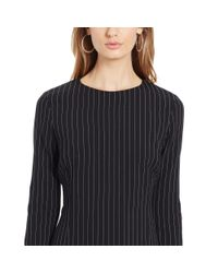 Polo Ralph Lauren - Black Pinstriped Stretch Wool Dress - Lyst