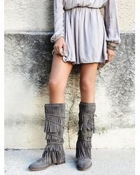 Free People | Gray Faryl Robin + Womens Songbird Fringe Boot | Lyst