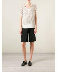 Brunello Cucinelli - Natural Open Knit Top - Lyst