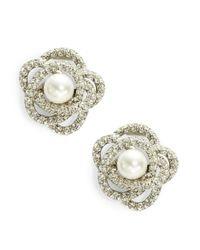 Oscar de la Renta | White Faux Pearl And Crystal Cluster Stud Earrings | Lyst