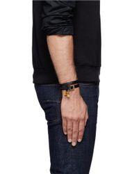 Alexander McQueen - Black Concealed Stud Double Wrap Skull Leather Bracelet for Men - Lyst
