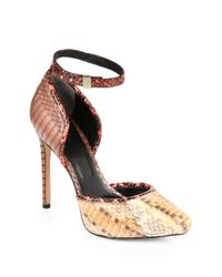 Rachel Roy - Brown Gemma Snakeskinprinted Ankle Strap Pumpsnatural Multi - Lyst