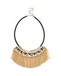 River Island | Black Fringed Embellished Statement Necklace | Lyst