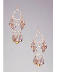 Bebe - Metallic Faceted Chandelier Earrings - Lyst