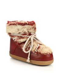 Ikkii | Red Leather and Rabbit-Fur Moon Boots | Lyst