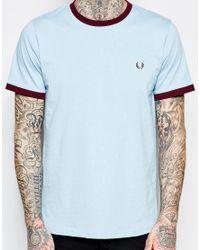 Stussy - Blue Ringer T-shirt With Logo for Men - Lyst