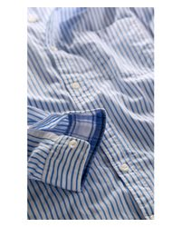 Express - Blue Soft Wash Striped Shirt for Men - Lyst