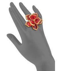 Oscar de la Renta | Red Wildflower Cocktail Ring | Lyst