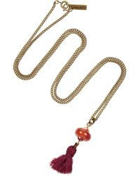 Isabel Marant Red Goldtone Agate and Crystal Necklace