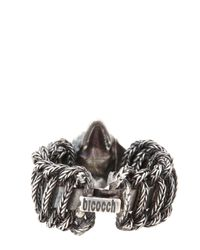 Emanuele Bicocchi | Metallic Woven Silver Skull Ring for Men | Lyst