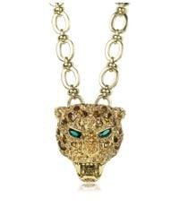 Roberto Cavalli - Metallic Panther Metal Pendant W/crystals - Lyst