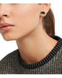 Tory Burch | Black Dipped Logo Stud Earring | Lyst
