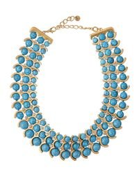 Lydell NYC - Blue Beaded Three-Row Choker Necklace - Lyst