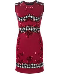 Ermanno Scervino - Red Houndstooth Stripe Fitted Dress - Lyst