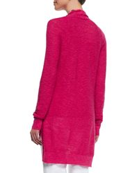 Eileen Fisher - Pink Linen-cotton Slub Cardigan - Lyst