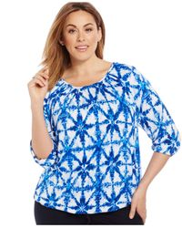 Michael Kors | Blue Michael Plus Size Printed Peasant Top | Lyst