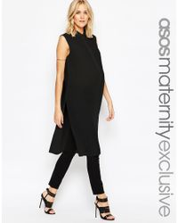 ASOS | Black Sleeveless Longline Maxi Blouse | Lyst
