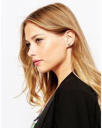 Ted Baker | Pink Enamel Logo Button Stud Earrings | Lyst