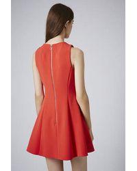 TOPSHOP - Red Sleeveless Seam Flippy Dress - Lyst
