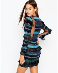 ASOS | Blue Red Carpet All Over Fringe And Embellished Mini Bodycon Dress | Lyst