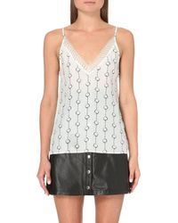 The Kooples | Natural Chain-print Silk Camisole | Lyst