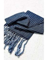 Urban Outfitters - Blue Skinny Pattern Fringe Scarf - Lyst