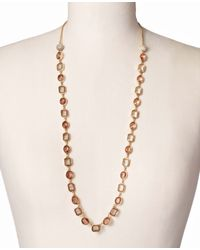 Ann Taylor - Pink Mixed Crystal Delicate Necklace - Lyst