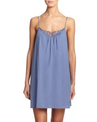 Hanro - Blue Roma Lace-trimmed Chemise - Lyst