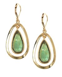 Anne Klein | Green Goldtone Stone Drop Earrings | Lyst