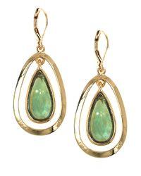 Anne Klein - Green Goldtone Stone Drop Earrings - Lyst
