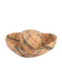 Lyst - Onigo Plaid Wide Brim Hat in Natural 6126dc95d3e6