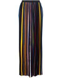 Balmain | Black Striped Wide Leg Trousers | Lyst