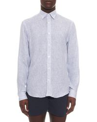 Gieves & Hawkes - Blue Striped Linen Shirt for Men - Lyst