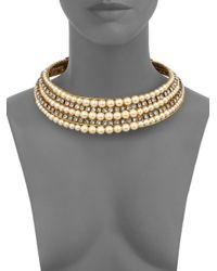 Erickson Beamon - Metallic Stratosphere Crystal & Faux Pearl Ribbon Collar Necklace - Lyst