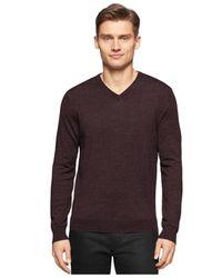 Calvin Klein | Brown Merino Wool V-neck Sweater for Men | Lyst
