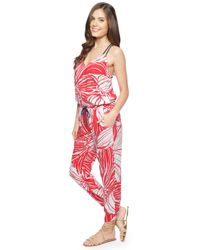 Splendid | Red Floral Plaid Jumpsuit | Lyst