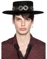 April77 - Black Felt Hat With Detachable Necklace - Lyst