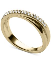 Michael Kors - Metallic Clear Pavé Crisscross Ring - Lyst
