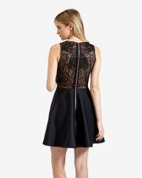Ted Baker - Black Lace Detail Skater Dress - Lyst