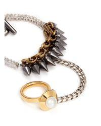 Venna - Metallic Faux Pearl Ring Chain Link Combo Bracelet - Lyst