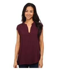 Allen Allen | Purple Rayon Crepe Sleeveless Split Neck | Lyst