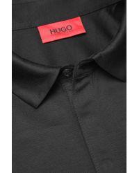 HUGO | Black 'desper' | Slim Fit, Mercerized Cotton Vegan-trim Polo for Men | Lyst