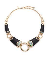 Alexis Bittar | Metallic Sport Deco Lucite & Black Mother-of-pearl Liquid Ring Bib Necklace | Lyst
