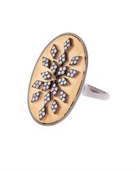 Elise Dray | Metallic Diamond, Sapphire & Gold Meteorite Ring | Lyst