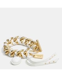 COACH - Metallic Leather Laced Cameo Toggle Bracelet - Lyst
