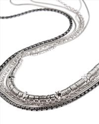 Jaeger | Metallic Multi Row Long Necklace | Lyst