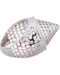 Eddie Borgo - Metallic Silver Perforated Aerator Cone Ring - Lyst