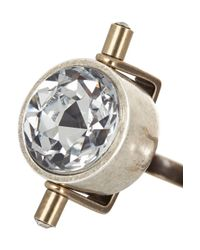 Lanvin - Metallic Gold And Silver-Tone Crystal And Faux Pearl Ring - Lyst